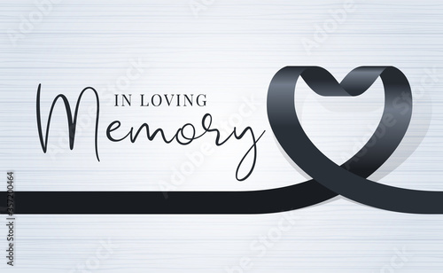Obraz in loving memory text and black heart ribbon sign on soft light wood texture background vector design - fototapety do salonu