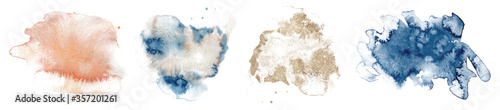 Obraz Abstract watercolor  shapes on white background. Color splashing hand drawn vector - fototapety do salonu