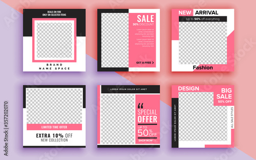 Obraz Set of sale banner template design. Vector illustration. - fototapety do salonu