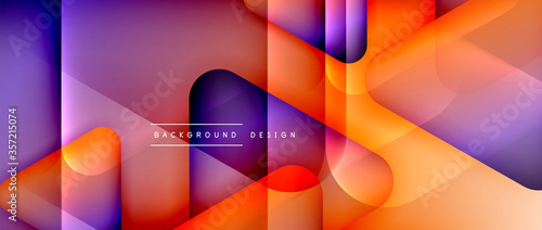 Obraz Triangle shapes geometric abstract background. 3D shadow effects and fluid gradients. Modern overlapping forms wallpaper for your text message - fototapety do salonu