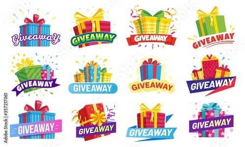 Fotografie, Tablou Giveaway banner, prize in colorful boxes with ribbons