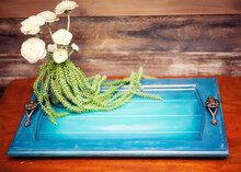 Blue Rustic Tray With White Flowers