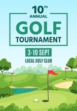 Golf Poster. Green Course, Hol...