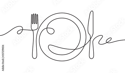 Fototapeta Line fork, knife and plate. Continuous one line drawing cutlery, cooking utensils. Hand drawn dishware for restaurant logo or menu cover in linear style art concept vector illustration. obraz