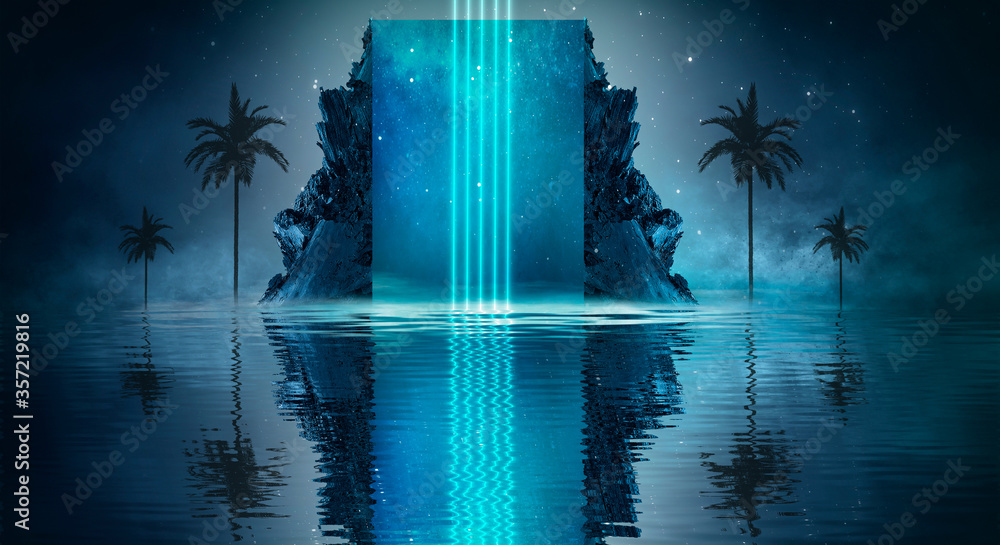 Fototapeta Futuristic night landscape with abstract landscape and island, moonlight, shine. Dark natural scene with reflection of light in the water, neon blue light. Dark neon  background.