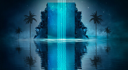 Futuristic night landscape with abstract landscape and island, moonlight, shine. Dark natural scene with reflection of light in the water, neon blue light. Dark neon  background.