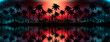 Night landscape with palm trees, against the backdrop of a neon sunset, stars. Silhouette coconut palm trees on beach at sunset. Vintage tone. Futuristic landscape. Neon palm tree. Tropical sunset.