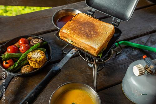 スキレットで作るアウトドアの朝食  delicious breakfast Canvas Print