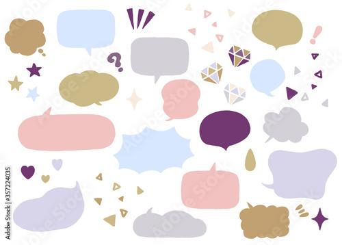 宝石やハート、キラキラが散りばめられた、キュートでファッショナブルな色のベクター風船素材のセット Slika na platnu