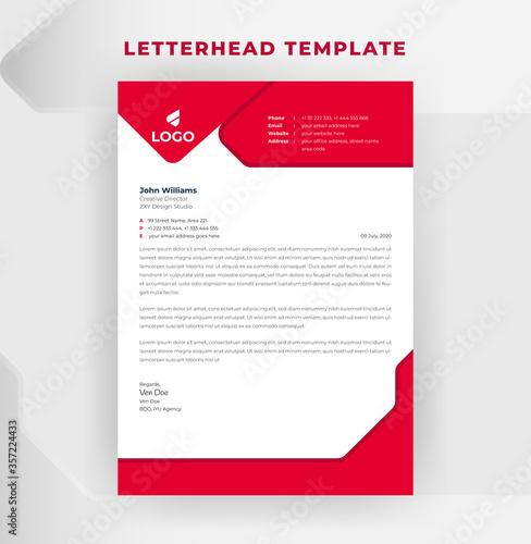 Fototapeta Letterhead Template With Red Color obraz