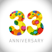 33 Rd Anniversary Numbers. 33 Years Old Multicolored Congrats. Cute Congratulation Concept. Isolated Abstract Graphic Design Template. Age Digits. Up To 33%, -33% Percent Off Discount. Decorative Sign