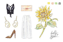 Set Of Watercolor Garments And...