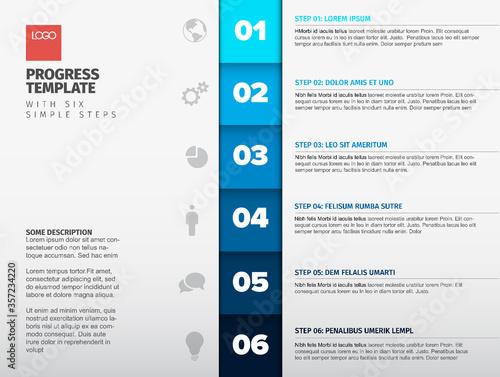 Blue vertical steps progress template