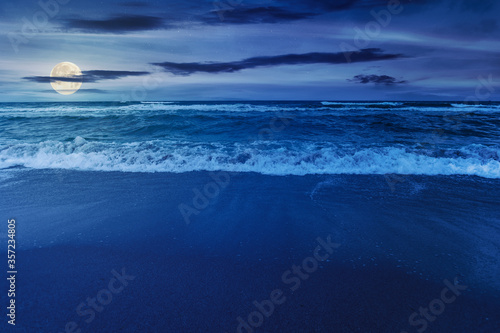 beach and sea on a cloudy night Canvas Print