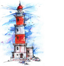 White With Red Lighthouse By T...