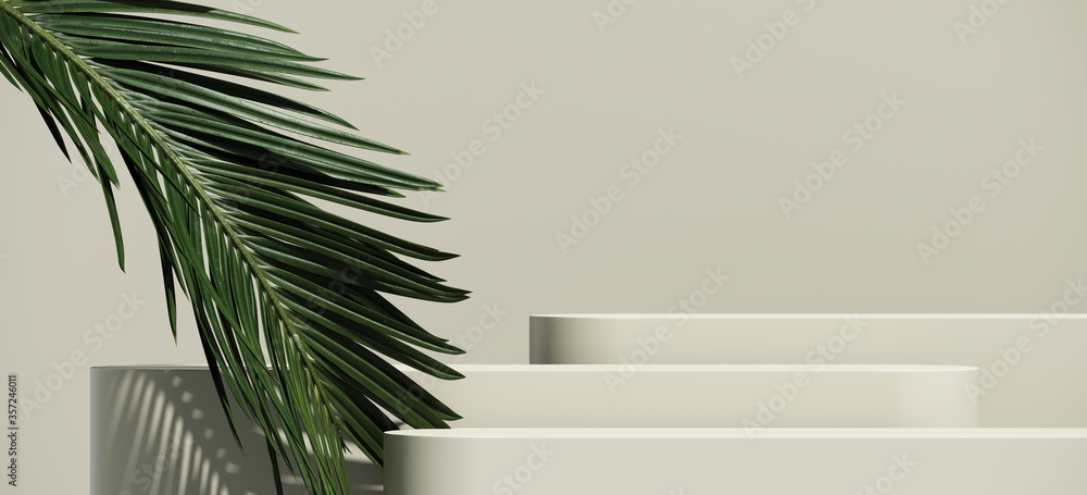 Fototapeta Minimal cosmetic background for product presentation. Cosmetic bottle podium and green palm leaf on grey color background. 3d render illustration. Object isolate clipping path included.