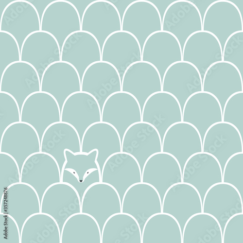 Obraz Wolf seamless cartoon pattern - fototapety do salonu