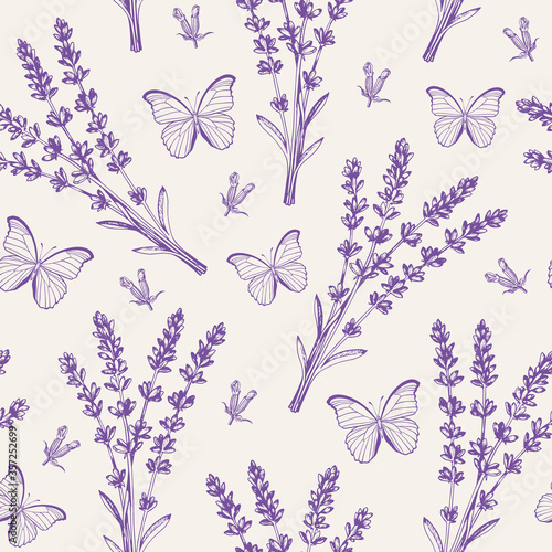 Tapeta fioletowa  vintage-seamless-pattern-with-lavender-flowers-and-butterflies