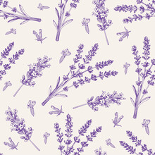 Vintage Seamless Pattern With Lavender Flowers.