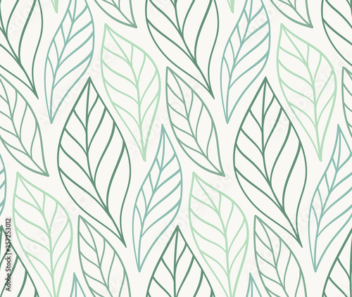 Obraz Vector hand drawn leaves seamless pattern. Abstract trendy floral background. Repeatable texture. - fototapety do salonu