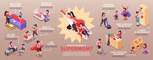 Super Mom Isometric Infographics