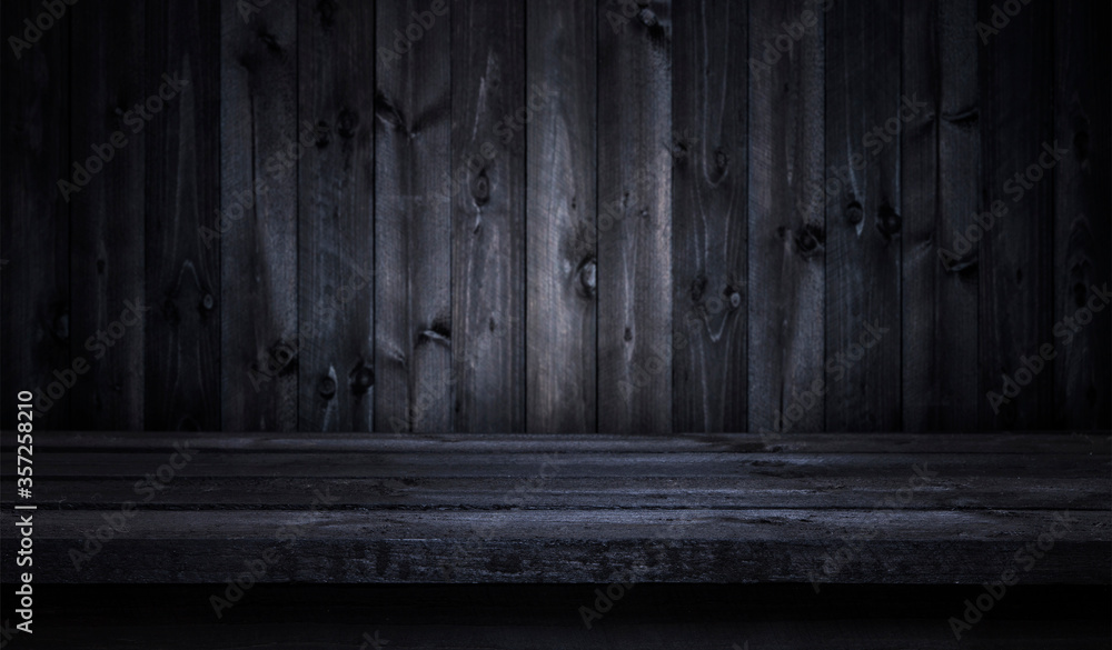 Fototapeta Dark wooden table for product display montage