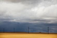 Telephone Poles In Rural Landscape