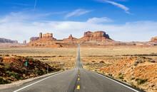 Empty Desert Road Towards Monu...
