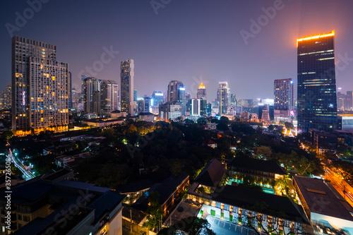 Thailand, Bangkok, Illuminated city downtown at night - 357265086