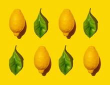 Pattern Of Ripe Lemons And Gre...