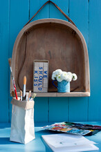 Shelf Made From Old Wooden Chair And Brush Holder Made From Milk Carton