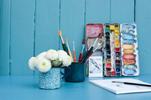 Mugs With Paintbrushes And Blo...