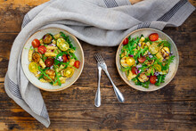 Two Bowls Of Pasta Salad With ...