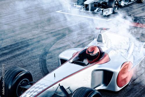 Obraz na plátně Race cars driving on track