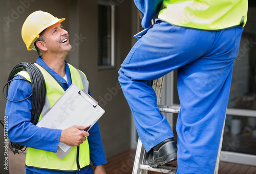 Workers talking on site Canvas Print