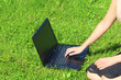 Leinwanddruck Bild - A beautiful young white girl in a pink jacket and black skirt and with long hair sitting on green grass, on the lawn and working behind a black laptop
