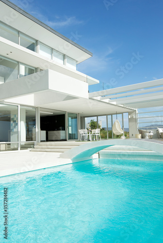 Tablou Canvas Swimming pool and modern house