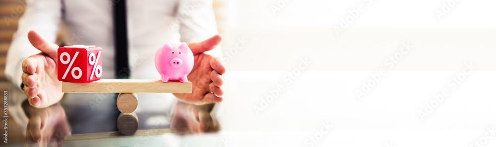 Fototapeta Hand Protecting Balance Between Percentage And Piggybank