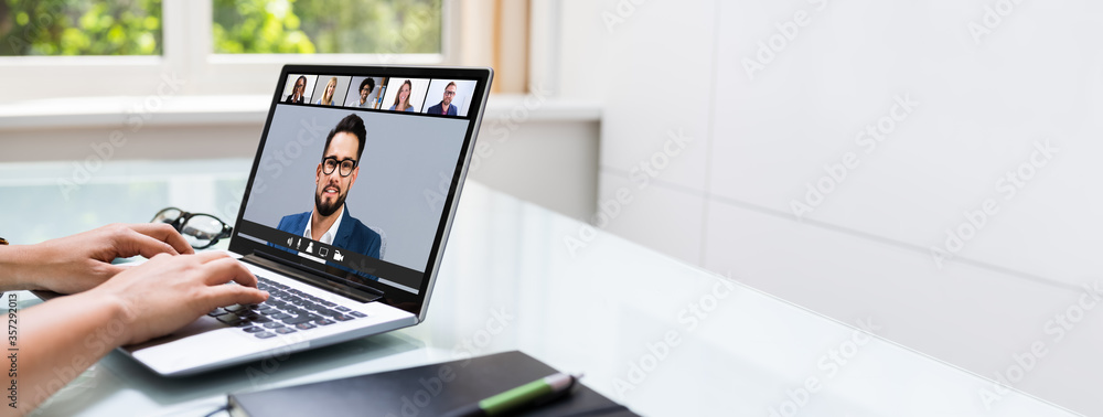 Fototapeta Work From  Home Online Video Conference