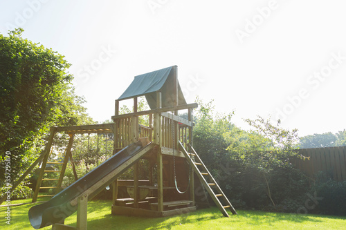 Play structure in backyard Canvas Print