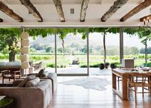 Open Floor Plan In Luxury House Overlooking Vineyard