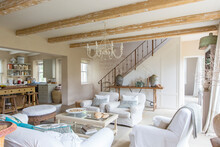 Living Room Of Rustic House