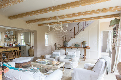 Stampa su Tela Living room of rustic house