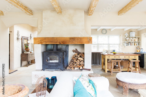 Fotografie, Obraz Living room and kitchen of rustic house