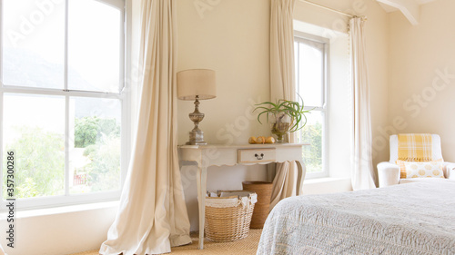 Fényképezés Curtain and vanity table in rustic bedroom