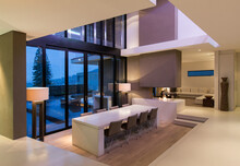 View Of Modern Dining Room Wit...