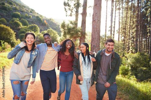 Young friends walking in a row in woods Fototapet