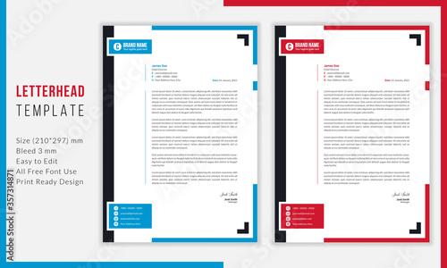 Fototapeta Simple Modern Letterhead vector template design. Creative & Clean business style print ready letterhead for your corporate project. Blue & Red color Letterhead Design Template. obraz
