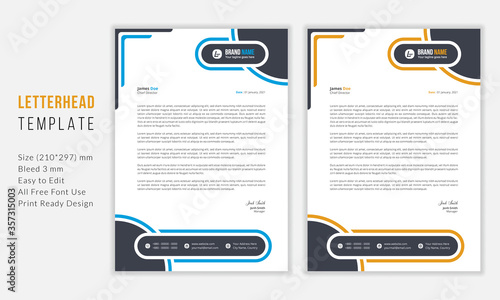Fototapeta Simple Modern Letterhead vector template design. Creative & Clean business style print ready letterhead for your corporate project. Blue & Yellow Letterhead Design Template. obraz