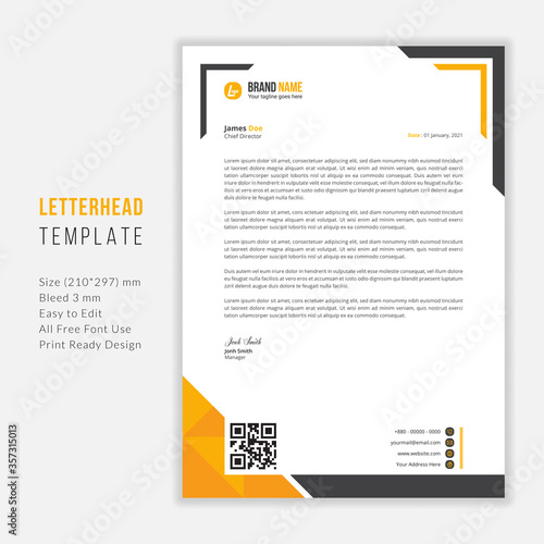 Fototapeta Simple Modern Letterhead vector template design. Creative & Clean business style print ready letterhead for your corporate project. obraz
